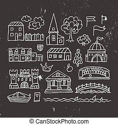 cidade, edifícios, antigas, sketched