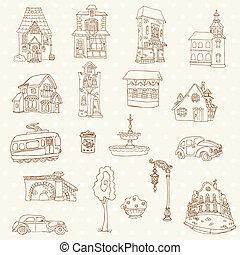 cidade, elementos, -, vetorial, desenho, scrapbook, pequeno, doodles