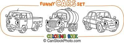cidade, engraçado, eyes., pequeno, jogo, coloração, carros, livro