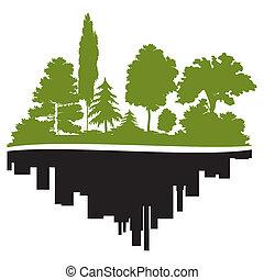 cidade, floresta