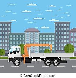 cidade, guindaste, montado, caminhão, estrada