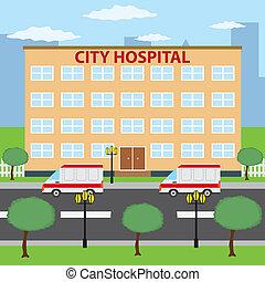 cidade, hospital.