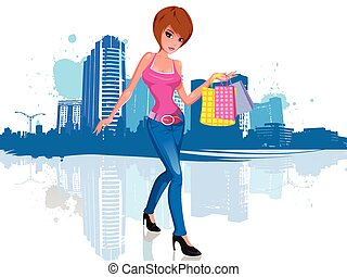 cidade, shopping mulher, jovem, saco