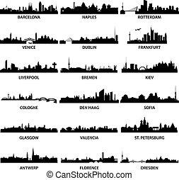 cidade, skylines, europeu