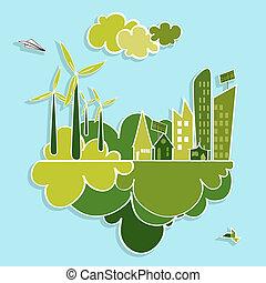 cidade, verde, renovável, resources.