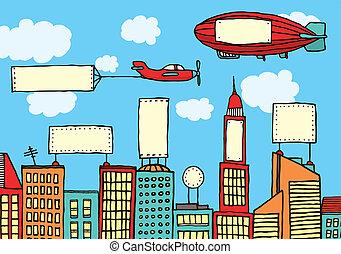cidade, visual, anunciando, /, contaminação