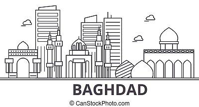 cidade, wtih, illustration., linear, golpes, editable, skyline, icons., marcos, famosos, bagdade, vetorial, desenho, vistas, cityscape, linha, arquitetura paisagem