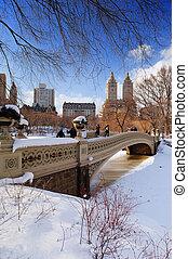 cidade, york, panorama, novo, manhattan, central, inverno, parque