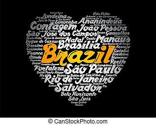 cidades, palavra, brasil, nuvem, lista, coração