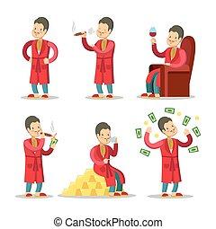 cigar., sucedido, dinheiro, ilustração, vetorial, businessman., ricos, homem sênior, caricatura, feliz