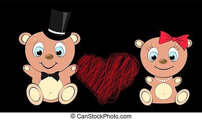 cilindro, laço, cabeça, menina, azul, amantes, heart., dois, pérola, pretas, olhos marrons, urso grande, ilustração, fundo, menino, cute, arco, vetorial, colar, bonito