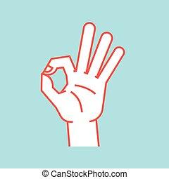 cima., índice, aprovação, polegar, sinal., gesture., mão, stylized, dedos, outro, fazer, icon., círculo