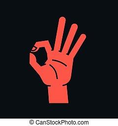 cima., índice, aprovação, polegar, sinal., gesture., mão, stylized, dedos, outro, vector., fazer, icon., círculo