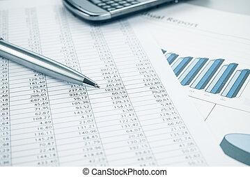 cima., azul, smartphone, toned., negócio, caneta, relatório, fim, dados, impressão