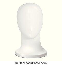 cima., cabeça, mannequin, vector., branca, escarneça