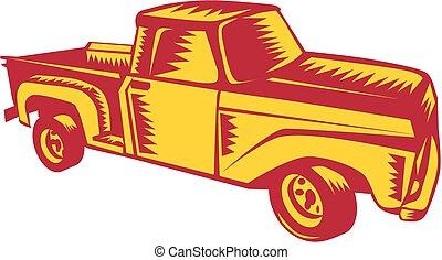 cima, caminhão, woodcut, pico, vindima