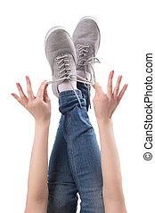 cima., close-up, sapatos, isolado, pés, femininas, branca, pernas