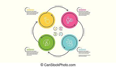 cima., dados, amor, semelhante, ícones, set., refrescar, touchpoint, pessoa, vetorial, info, polegares, toque, tecnologia, sinal., usuário