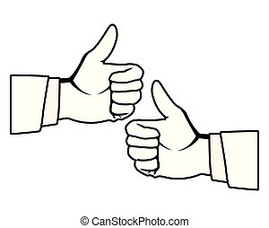 cima, dois, pretas, polegares, mãos, branca