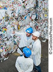cima, equipe, fim, reciclagem