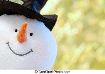 cima fim, boneco neve, rosto