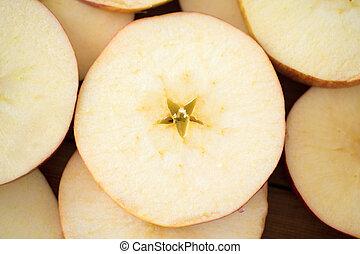 cima fim, maçã cortam fatias