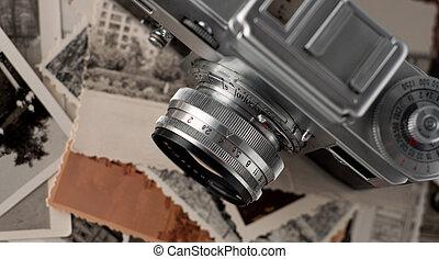 cima., fotografias, câmera, antigas, fim