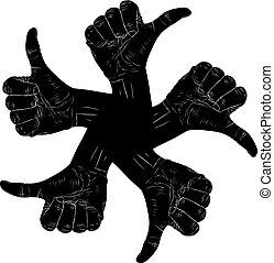cima, mão, cinco, polegar, sinais