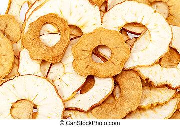 cima., maçã cortam fatias, secado, fundo, fim
