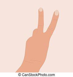 cima., mostrar, mostrando, costas, levantado, peace., letra, v., vetorial, dois, gesto, icon., caricatura, sinal, femininas, dedos, símbolo, illustration., vitória, mão, mão.
