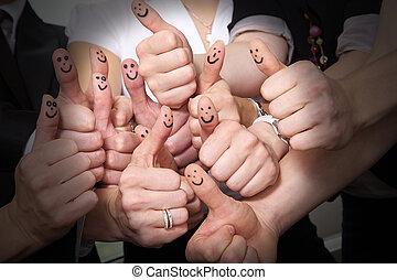 cima, muitos, polegares, rir, mostrar