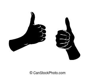 cima., semelhante, sinal., dois, gesture., polegares, fêmea passa