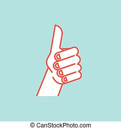 cima., semelhante, sinal., gesture., mão, stylized, polegares, vector.