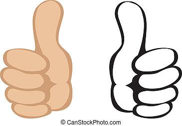 cima, vetorial, gesture., polegares