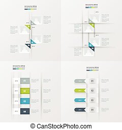 cinzento, azul, cor, timeline, item, 4, verde