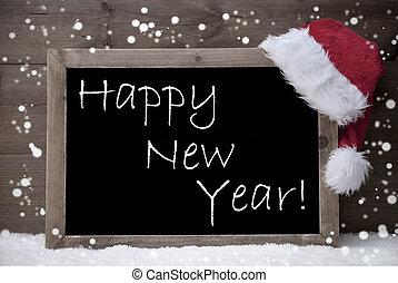 cinzento, cartão, neve, quadro-negro, ano, novo, natal, feliz