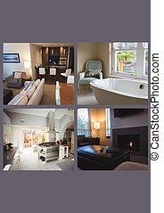 cinzento, casa, colagem, modernos, contra, interior, fundo