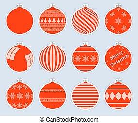 cinzento, natal, vermelho, bolas, qualidade, experiência., alto, baubles., isolado, jogo, adesivos, vetorial, magia