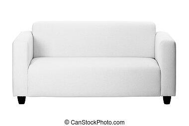cinzento, ordinário, fundo branco, sofá