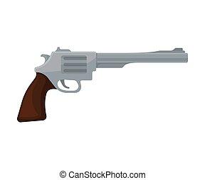 cinzento, revolver., ilustração, experiência., vetorial, branca