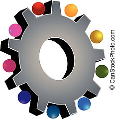 cinzento, trabalho equipe, engrenagem, logotipo
