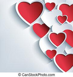 cinzento, valentines, fundo, corações, elegante, dia, vermelho, 3d