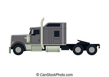 cinzento, vista, modernos, caminhão, apartamento, entrega, semi, lado, vetorial, carga, ilustração, branca, veículo, fundo