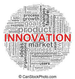 circular, inovação, etiquetas, desenho, palavra