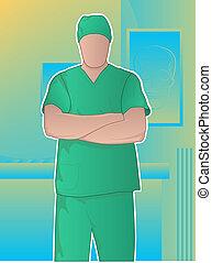 cirurgião, braços cruzados