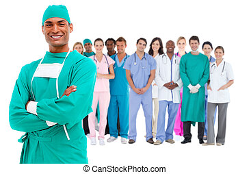 cirurgião, pessoal, sorrindo, atrás de, ele, médico