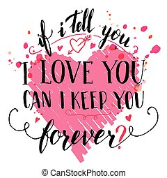 citação, amor, escova, cartão, calligraphic