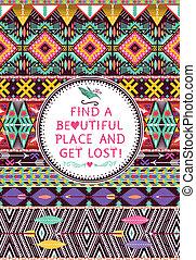 citação, elementos, padrão, tipográfico, geomã©´ricas, texto, seamless, tribal, hipster