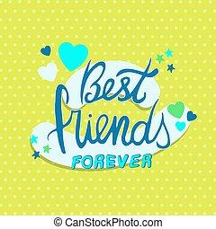 citação, melhor, para sempre, cartão, amigos, dia, amizade