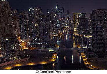 city., noturna, vista., panorâmico